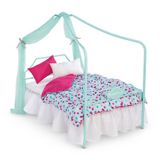 "American Girl TRULY ME CANOPY BED for 18"" Doll Blanket Pillow Furniture NEW"
