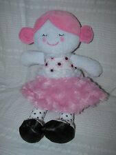 """BABY GEAR Plush DOLL WITH PINK MINKY SKIRT Floral Flower Shirt 12"""" Black White"""