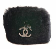 Authentic CHANEL Bracelet Lapin fur COCO mark Black Lapin #3097