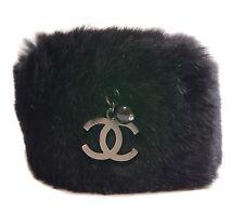 Authentic CHANEL Bracelet Lapin fur COCO mark Black Lapin #3097
