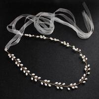 Pearl Wedding Belt,Wedding Dress Sash,Women Waist Chain,Pearl Headband Hair Band