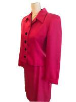 Linda Allard Ellen Tracy Suit Blazer Skirt 100% Silk Hot Pink Size 8P VTG EUC