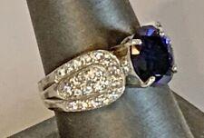 Sterling Silver Sapphire & Clear/White Diamonique Cubic Zirconia Ring MIB Size 9