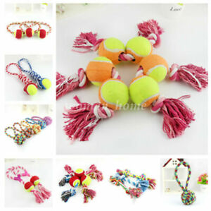 Pet Puppy Dogs Cat Cotton Rope Chew Toy Ball Play Braided Bone Knot Fun Training