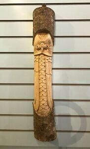 Owl Man Of The Woods 80cm Hand Carved Wizard Tree Trunk Wood Man Fairtrade
