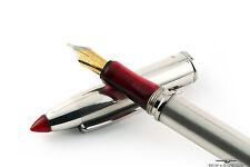 Marlen Vintage Sterling Silver Red Arianne Shuttle Fountain Pen - Rare!