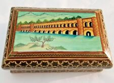 Goegeous Persian Isfahan Khatam Trinket Box with Miniature Painting - signed