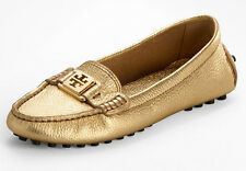NEW TORY BURCH Kendrick Metallic Gold Leather/Logo Driving Moccasin Loafers 9.5
