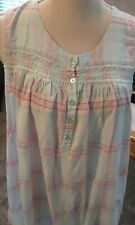 VINTAGE CLASSIC ELEMENTS MED NIGHTGOWN SLEEVELESS BLUE/PINK PLAID 100% COTTON