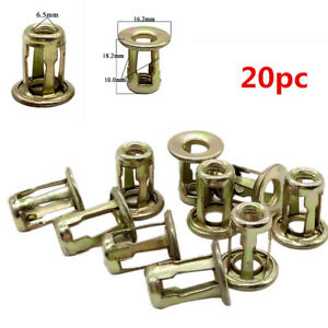 20Pcs Car Metal Screw Base Clamp Auto Trunk License Plate Install Fastener Clips