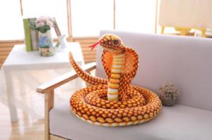 large Cobra/Snake Plush Stuffed Animal Doll Soft Toy Kids Children Gift gold
