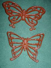 Set Of 2 Home Interiors Homco Brown Butterfly Wall Hanging Plaques -Butterflies