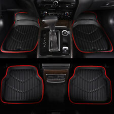 Car Floor Mats Universal Red Black 4 PCS Leather Waterproof For Honda Hyundai VW