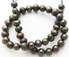 "Freshwater Pearl Peacock Coffee Large 10-11mm Potato Round Beads 15"" Strand W31"