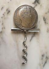 Tire bouchon Eloi Pernet 5 francs Louis-Philippe 1843 argent. Silver corkscrew