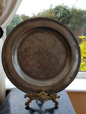 ANTIQUE, LARGE ROUND PEWTER, PLATE / CHARGER, WITH CROWNED R AND M. CIRCA 1750