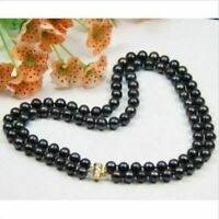 2 ROW AAA 9-10MM South Sea NATURAL BLACK PEARL NECKLACE 14k clasp