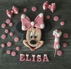 Minnie Mouse 14cm Kindergeburtstag Tortendeko Tortenaufleger Zuckerfigur Fondant