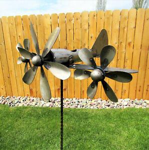 Metal Triple Prop Plane Airplane Spinner Propeller Yard Garden Stake Windmill