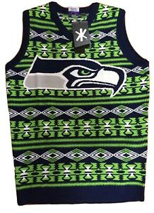New Seattle Seahawks Sweater Vest Size Small Blue Green White NFL