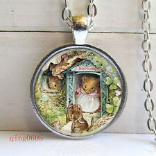 Vintage mouse Cabochon Tibetan silver Glass Chain Pendant Necklace #33