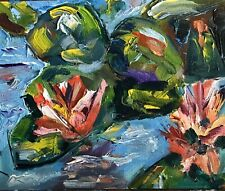 PATRICIA NOLAN-BROWN Oil Painting Water Lilies Impressionism Abstract MODERN