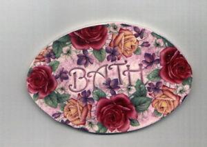 Mosaic Tiles Oval BATH violet Rose's Garden Flowers chic Kiln fired Ceramic OL52