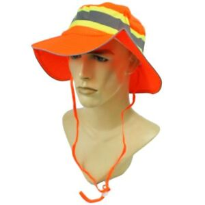 Neon Construction Safety Hat Reflective Silver Tape Booney Mesh Large XL Hat Cap