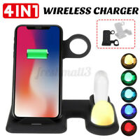 4 in1 Wireless Charger Charging Stand For Apple Watch Airpod Phone With Light