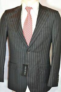 GUCCI Anzug Sakko Hose Mens Suit traje 48 M NEU 1.260 € Wolle Schwarz Streifen