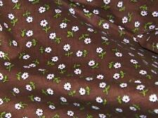 "Cotton Blend Calico White Flower-Red Dot on BROWN Fabric 34""w BTHalfYd"