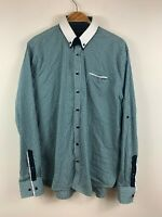 Politix Bespokes Mens Button Up Shirt Size 2XL Slim Fit Long Sleeve Blue Green