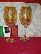"NIB, ""CRISTALLERIA FRATELLI FUMO Lot of 2, WINE GLASSES"", Made in Italy,10"" tall"