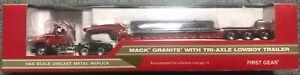 First Gear 60-0171 1:64 Scale Die-Cast Mack Granite with Tri-Axle Lowboy Trailer