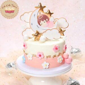 ⭐9pcs design angel baby cloud cake topper for birthday baby shower gender reveal