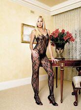 Spitzencatsuit Schwarz Sexy Lace Open Crotch Body Stocking Bodysuit Catsuit  S-L