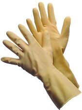 "NATURAL CANNERS LATEX GLOVES - 18 MIL, 12"" LONG, FLOCK LINED - 12 PAIRS - Large"