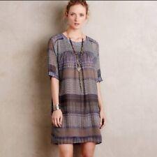 Anthropologie One September Caspian Tunic Dress Medium Beige Purple