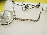 Diamond Accent Bar Bolo Bracelet/14K/Platinum/.925 STS.& Stainless Chain DAINTY!