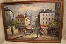 Grand tableau huile sur toile vue de Montmartre Paris signée Burnett