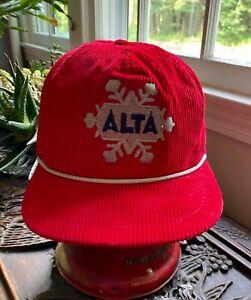 New! Vintage ALTA Ski Area Red Corduroy Hat Cap Circa 1988