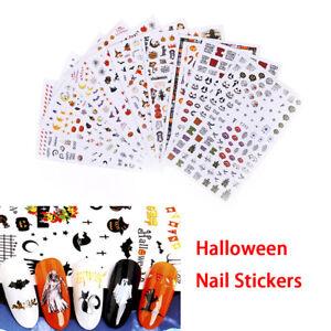 1Sheet Halloween Nails Art Manicure Back Glue Decal Decorations Nail Sticker US