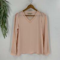 Ann Taylor Loft Womens Pullover Blouse Size S Pink V-Neck Shirt Top Lace Trim