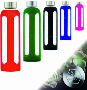 GLASS Water Bottle Drinking 500ml Drink Sports Insulate Silicone Sleeve BPA Free