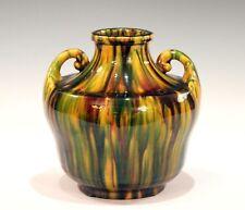 Awaji Pottery Art Deco Japanese Vintage Studio Vase in Yellow Flambe Glaze