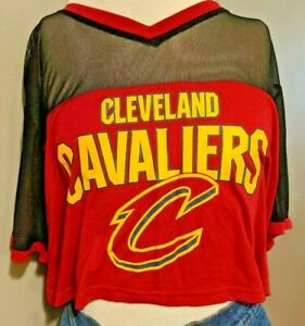 Cleveland Cavaliers Sexy Cropped Crop Boxy Tee Red Black NBA L