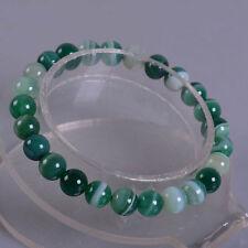 "8mm Fashion Green banded agate round gemstone beads stretchable bracelet 7.5"""