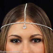 Diamante Rhinestone headpiece head hair jewelry chain headband bridal Gatsby