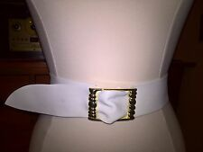 Vintage Retro 1978 White Leather Belt with Adjustable Gold Buckle M/L **WOW**