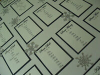 PERSONALISED A3 / A2 GLITTER SNOWFLAKE WEDDING SEATING PLAN TABLE PLANNER